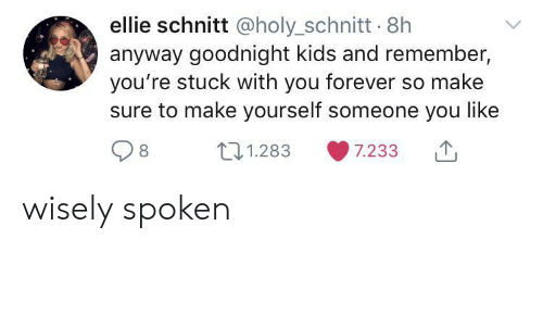 Wisely: ellie schnitt @holy_schnitt 8h  anyway goodnight kids and remember,  you're stuck with you forever so make  sure to make yourself someone you like  t1.283  7.233 wisely spoken