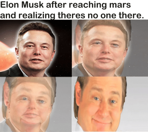 elon musk: Elon Musk after reaching mars  and realizing theres no one there.