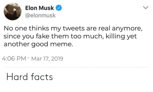 Facts, Fake, and Meme: Elon Musk  @elonmusk  No one thinks my tweets are real anymore,  since you fake them too much, killing yet  another good meme.  4:06 PM Mar 17, 2019 Hard facts