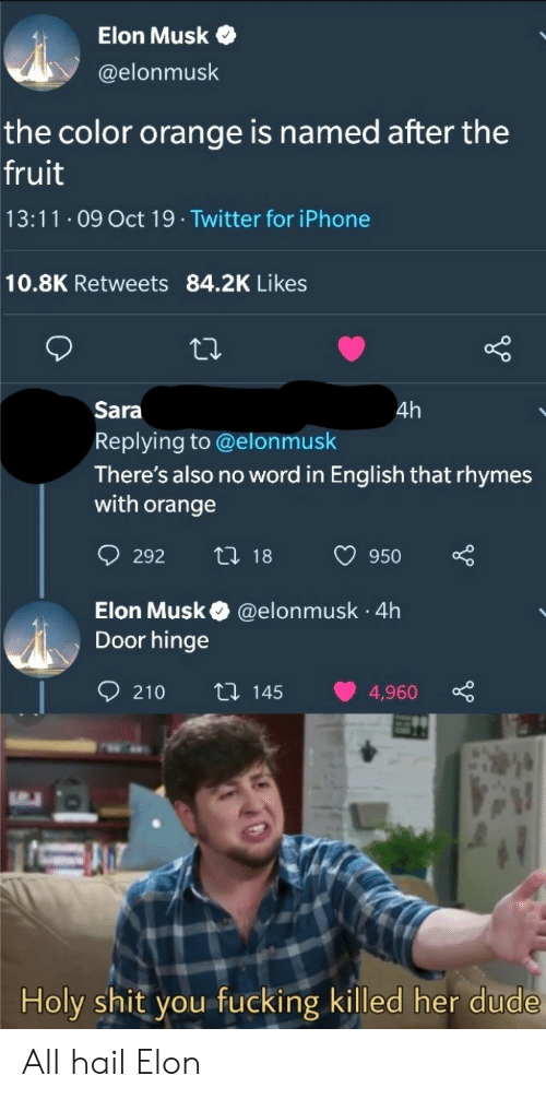 Dude, Fucking, and Iphone: Elon Musk  @elonmusk  the color orange is named after the  fruit  13:11 O9 Oct 19 Twitter for iPhone  10.8K Retweets 84.2K Likes  Sara  4h  Replying to @elonmusk  There's also no word in English that rhymes  with orange  t 18  292  950  Elon Musk  Door hinge  @elonmusk 4h  .  210  ti 145  4,960  Holy shit you fucking killed her dude All hail Elon