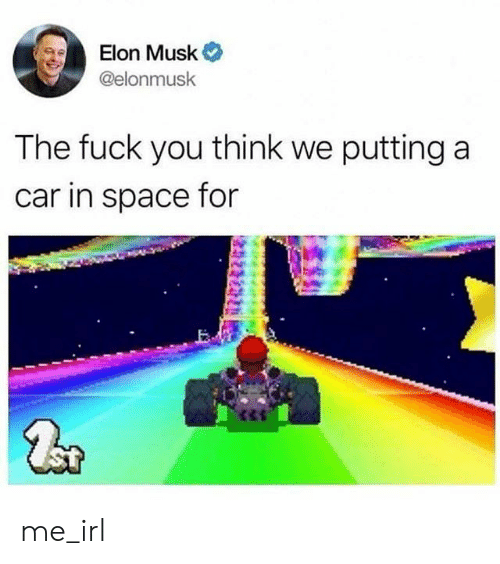 Fuck You, Fuck, and Space: Elon Musk  @elonmusk  The fuck you think we putting a  car in space for me_irl