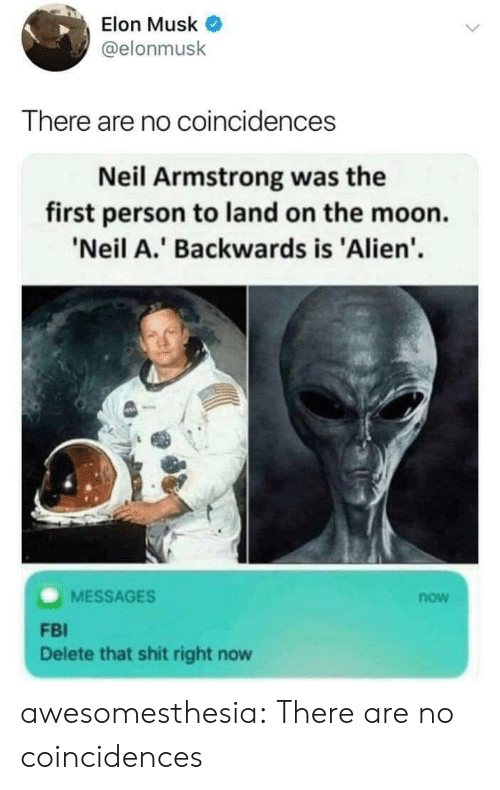 elon musk: Elon Musk  @elonmusk  There are no coincidences  Neil Armstrong was the  first person to land on the moon.  'Neil A.' Backwards is 'Alien'  MESSAGES  now  FBI  Delete that shit right now awesomesthesia:  There are no coincidences