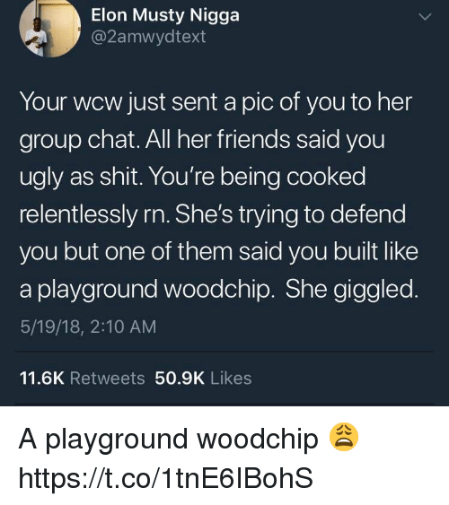 Friends, Group Chat, and Musty: Elon Musty Nigga  @2amwydtext  Your wcw just sent a pic of you to her  group chat. All her friends said you  ugly as shit. You're being cooked  relentlessly rn. She's trying to defend  you but one of them said you built like  a playground woodchip. She giggled  5/19/18, 2:10 AM  11.6K Retweets 50.9K Likes A playground woodchip 😩 https://t.co/1tnE6IBohS