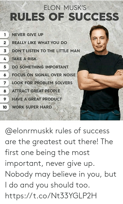 greatest: @elonrmuskk rules of success are the greatest out there!   The first one being the most important, never give up. Nobody may believe in you, but I do and you should too. https://t.co/Nt33YGLP2H