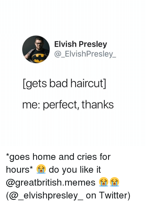 Bad, Haircut, and Memes: Elvish Presley  @_ElvishPresley  [gets bad haircut]  me: perfect, thanks *goes home and cries for hours* 😭 do you like it @greatbritish.memes 😭😭 (@_elvishpresley_ on Twitter)