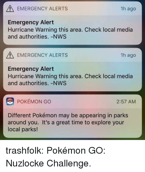 Pokemon, Target, and Tumblr: EMERGENCY ALERTS  1h ago  Emergency Alert  Hurricane Warning this area. Check local media  and authorities. -NWS  EMERGENCY ALERTS  1h ago  Emergency Alert  Hurricane Warning this area. Check local media  and authorities. -NWS  POKÉMON GO  2:57 AM  Different Pokémon may be appearing in parks  around you. It's a great time to explore your  local parks! trashfolk:  Pokémon GO: Nuzlocke Challenge.