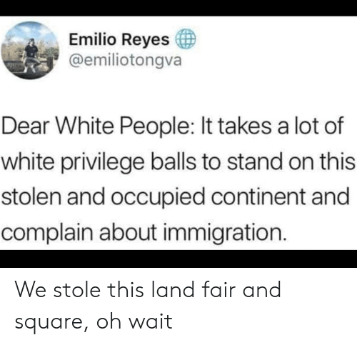 Oh Wait: Emilio Reyes  @emiliotongva  Dear White People: It takes a lot of  white privilege balls to stand on this  stolen and occupied continent and  complain about immigration. We stole this land fair and square, oh wait