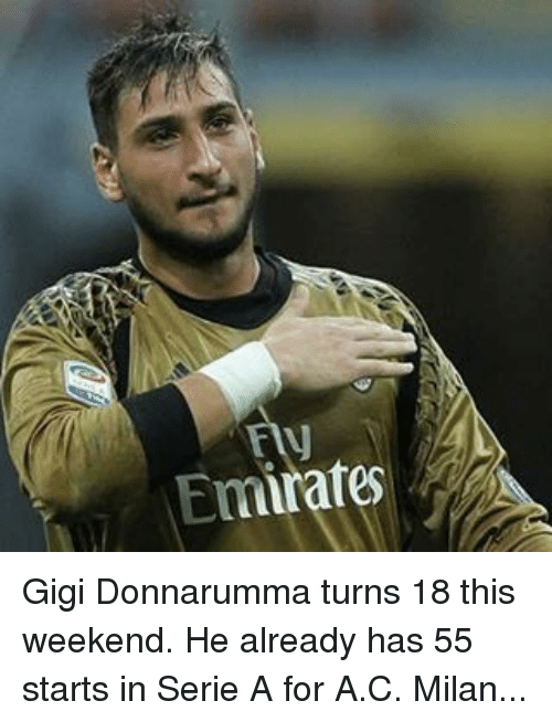 Turning 18: Emirates Gigi Donnarumma turns 18 this weekend. He already has 55 starts in Serie A for A.C. Milan...