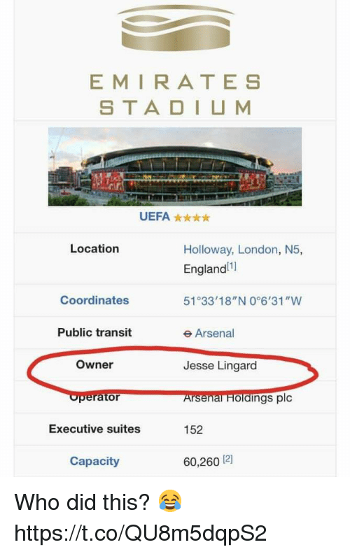 "Arsenal, England, and Memes: EMIRATES  S TA DIUM  UEFA  Location  Holloway, London, N5,  England  51 33'18""N 0°6'31""W  e Arsenal  Jesse Lingard  Arsenal Holaings plc  152  60,260 12]  Coordinates  Public transit  Owner  Executive suites  Capacity Who did this? 😂 https://t.co/QU8m5dqpS2"