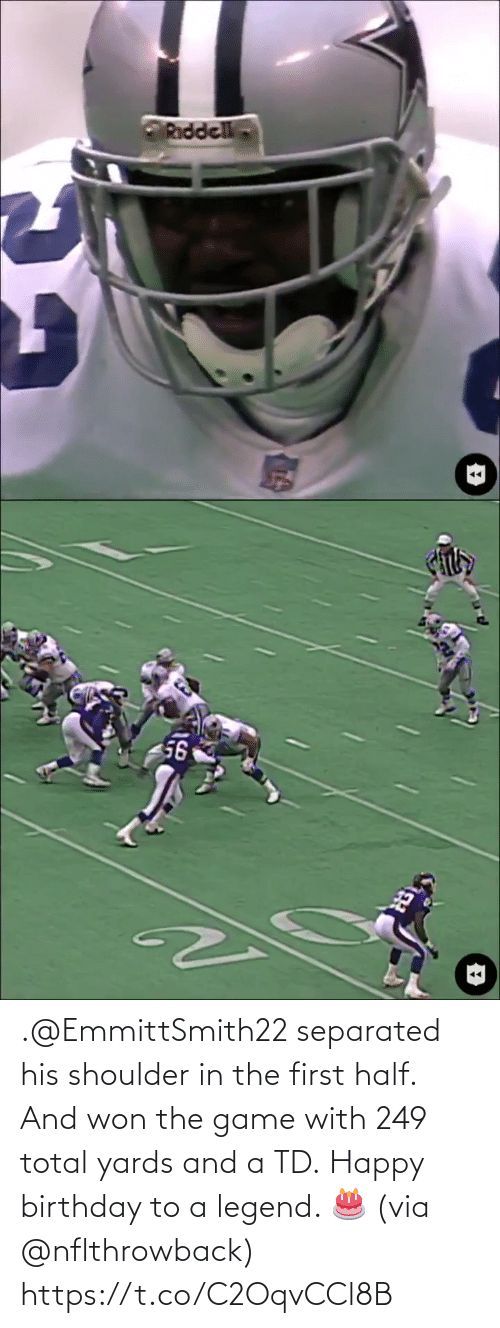 total: .@EmmittSmith22 separated his shoulder in the first half. And won the game with 249 total yards and a TD.  Happy birthday to a legend. 🎂 (via @nflthrowback) https://t.co/C2OqvCCl8B