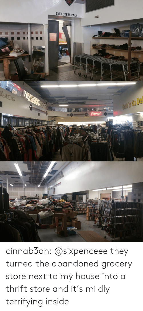 My House, Target, and Tumblr: EMPLOYEES ONLY   Flora cinnab3an: @sixpenceee they turned the abandoned grocery store next to my house into a thrift store and it's mildly terrifying inside