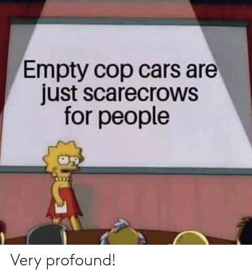 Cars, Cop, and For: Empty cop cars are  just scarecrows  for people Very profound!