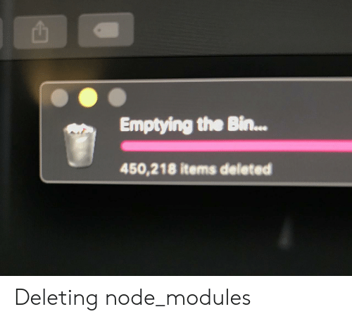 Deleting: Emptying the Bin...  450,218 items deleted Deleting node_modules