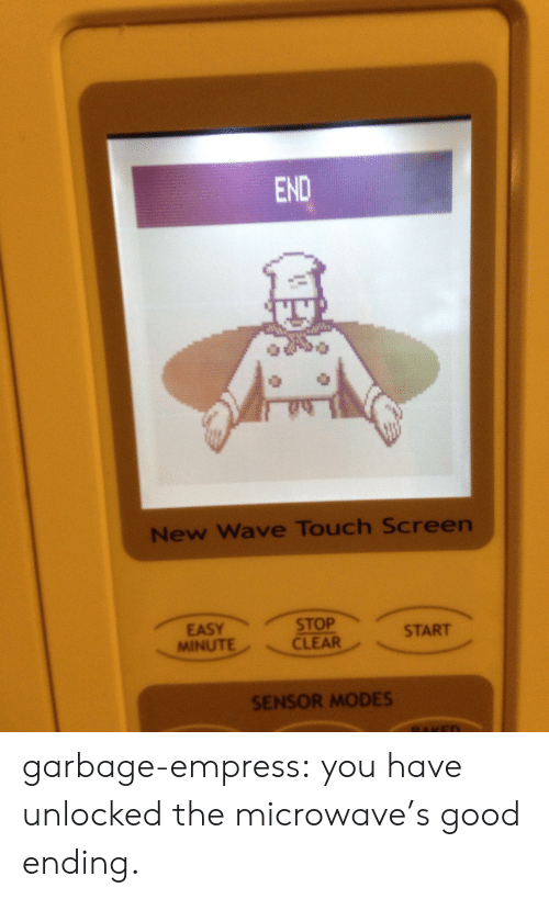 new wave: END  New Wave Touch Screen  START  MINUTECLEAR  SENSOR MODES garbage-empress: you have unlocked the microwave's good ending.
