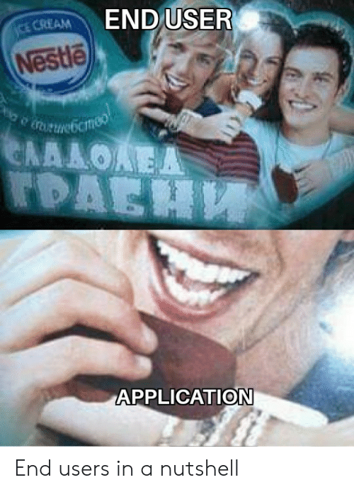 Nestle, Cream, and Application: END USER  CE CREAM  Nestle  URUNebcmeo  ΕΛΛΛΟΑΕΑ  TDAEH  APPLICATION End users in a nutshell