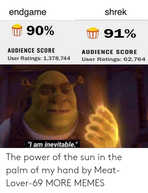 "Dank, Memes, and Shrek: endgame  shrek  90%  91%  AUDIENCE SCORE  AUDIENCE SCORE  User Ratings: 1,378,744  User Ratings: 62,764  ""I am inevitable."" The power of the sun in the palm of my hand by Meat-Lover-69 MORE MEMES"