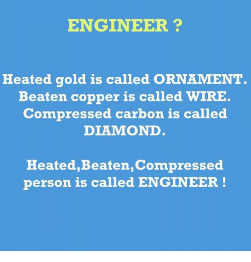 Wired, Engineering, and Copper: ENGINEER?  Heated gold is called ORNAMENT  Beaten copper is called  WIRE.  Compressed carbon is called  DLA MOND  Heated, Beaten,Compressed  person is called ENGINEER