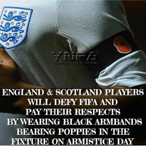 Poppies: ENGLAND & SCOTLAND PLAYERS  WILL DEFY FIFA ANID  PAY TEIR RESPECTS  BY WEARING BLACK ARMBANDS  BEARING POPPIES IN THE  FIXTURE ON ARMISITICE DAY