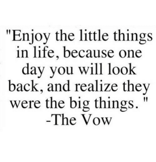 "The Vow: ""Enjoy the little things  in life, because one  day you will look  back, and realize they  were the big things.""  The Vow"