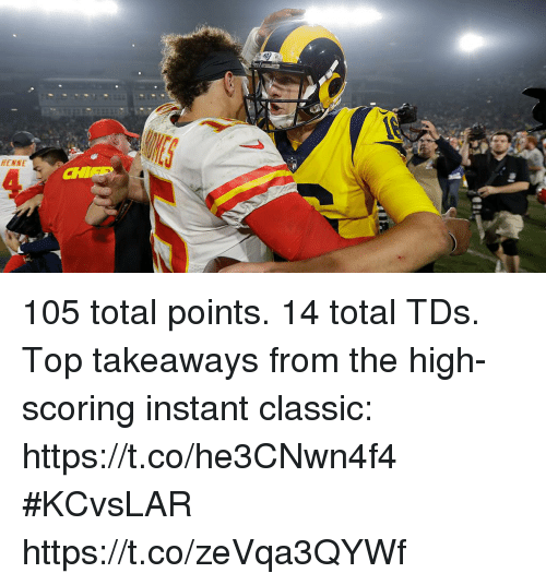 Memes, 🤖, and Top: ENNE 105 total points. 14 total TDs.  Top takeaways from the high-scoring instant classic: https://t.co/he3CNwn4f4 #KCvsLAR https://t.co/zeVqa3QYWf