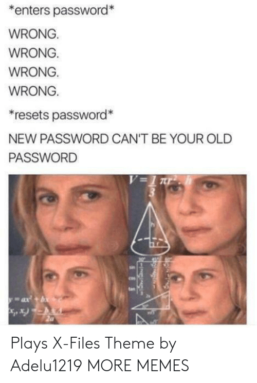 Your Old: enters password*  WRONG.  WRONG.  WRONG.  WRONG.  resets password*  NEW PASSWORD CAN'T BE YOUR OLD  PASSWORD  V=1 r  ax+b  FIN  SES Plays X-Files Theme by Adelu1219 MORE MEMES
