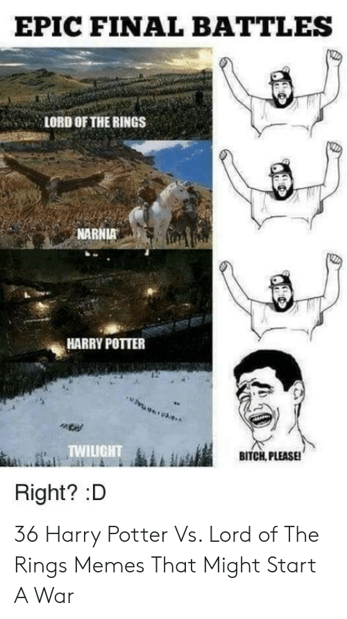 Lord of the Rings: EPIC FINAL BATTLES  LORD OF THE RINGS  NARNIA  HARRY POTTER  TWILIGHT  BITCH, PLEASE!  Right? :D 36 Harry Potter Vs. Lord of The Rings Memes That Might Start A War