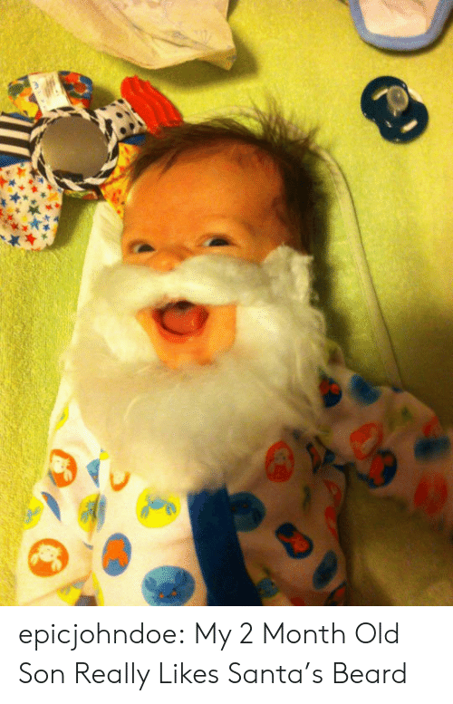Beard, Tumblr, and Blog: epicjohndoe:  My 2 Month Old Son Really Likes Santa's Beard