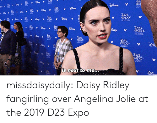 Angelina Jolie: epo-  223  expoo  23  expoo  expx  23  expoo  23.  expo  is next to me... missdaisydaily: Daisy Ridley fangirling over Angelina Jolie at the 2019 D23 Expo