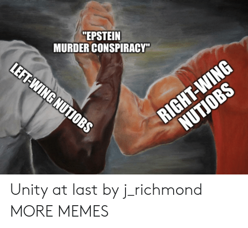 """Dank, Memes, and Target: """"EPSTEIN  MURDER CONSPIRACY""""  LEFT-WING NUTIOBS  RIGHT-WING  NUTJOBS Unity at last by j_richmond MORE MEMES"""
