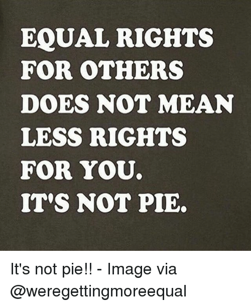 Memes, Image, and Mean: EQUAL RIGHTS  FOR OTHERS  DOES NOT MEAN  LESS RIGHTS  FOR YOU  IT'S NOT PIE. It's not pie!! - Image via @weregettingmoreequal