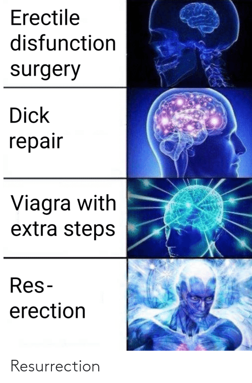 steps: Erectile  disfunction  surgery  Dick  repair  Viagra with  extra steps  Res-  erection Resurrection