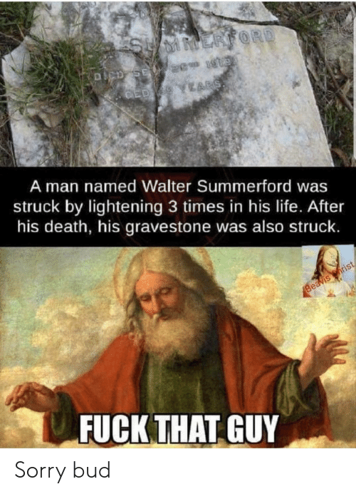 Life, Sorry, and Death: ERFORD  DCD SE 2 1  ED YEARS  A man named Walter Summerford was  struck by lightening 3 times in his life. After  his death, his gravestone was also struck.  Beavis rist  FUCK THAT GUY Sorry bud