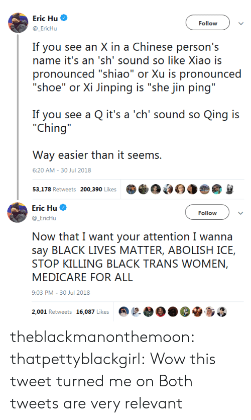 "Lives Matter: Eric Hu  @EricHu  Follow  If you see an X in a Chinese person's  name it's an 'sh' sound so like Xiao is  pronounced ""shiao"" or Xu is pronounced  ""shoe"" or Xi Jinping is ""she jin ping""  If you see a Q it's a 'ch' sound so Qing is  ""Ching  Way easier than it seems.  53,178 Retweets 200,390 Likes  6:20 AM-30 Jul 2018   Eric Hu  @EricHu  Follow  Now that I want your attention I wanna  say BLACK LIVES MATTER, ABOLISH ICE,  STOP KILLING BLACK TRANS WOMEN,  MEDICARE FOR ALL  9:03 PM-30 Jul 2018  2,001 Retweets 16,087 Likes @  OO. De.so theblackmanonthemoon:  thatpettyblackgirl: Wow this tweet turned me on  Both tweets are very relevant"
