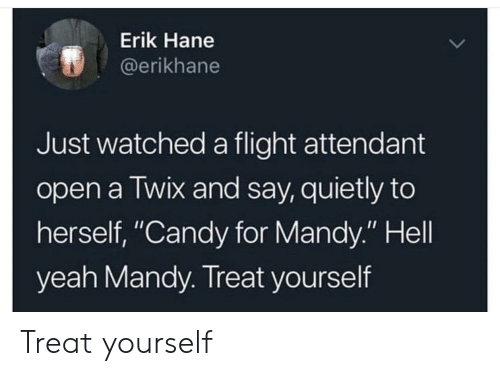 "Treat Yourself: Erik Hane  @erikhane  Just watched a flight attendant  open a Twix and say, quietly to  herself, ""Candy for Mandy."" Hell  yeah Mandy. Treat yourself Treat yourself"