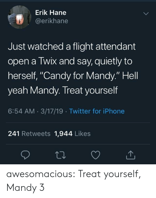 "Treat Yourself: Erik Hane  @erikhane  Just watched a flight attendant  open a Twix and say, quietly to  herself, ""Candy for Mandy."" Hell  yeah Mandy. Treat yourself  6:54 AM 3/17/19 Twitter for iPhone  241 Retweets 1,944 Likes awesomacious:  Treat yourself, Mandy 3"