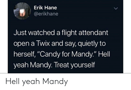 "Treat Yourself: Erik Hane  @erikhane  Just watched a flight attendant  open a Twix and say, quietly to  herself, ""Candy for Mandy."" Hell  yeah Mandy. Treat yourself Hell yeah Mandy"
