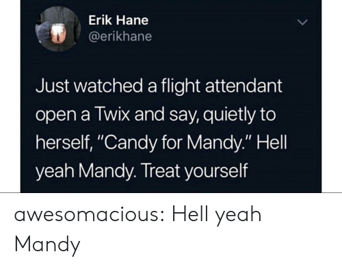 "Treat Yourself: Erik Hane  @erikhane  Just watched a flight attendant  open a Twix and say, quietly to  herself, ""Candy for Mandy."" Hell  yeah Mandy. Treat yourself awesomacious:  Hell yeah Mandy"