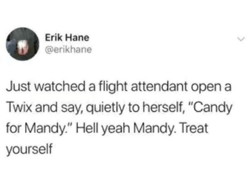"Treat Yourself: Erik Hane  @erikhane  Just watched a flight attendant open a  Twix and say, quietly to herself, ""Candy  for Mandy."" Hell yeah Mandy. Treat  yourself"