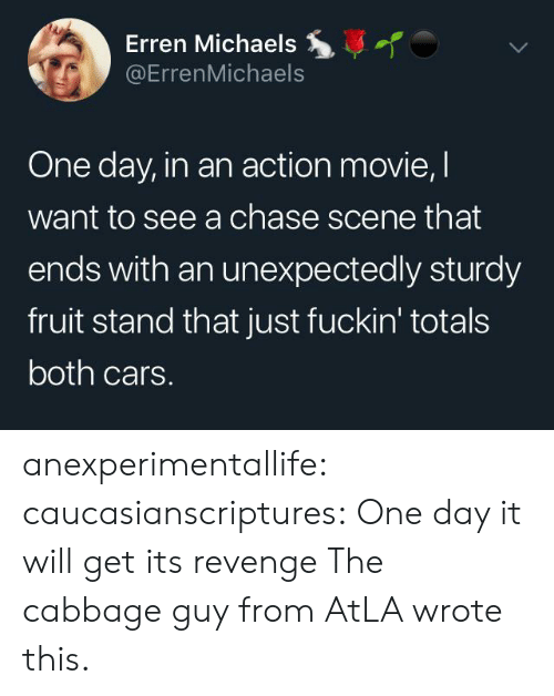 atla: Erren Michaels  @ErrenMichaels  One day, in an action movie, I  want to see a chase scene that  ends with an unexpectedly sturdy  fruit stand that just fuckin' totals  both cars. anexperimentallife: caucasianscriptures: One day it will get its revenge  The cabbage guy from AtLA wrote this.