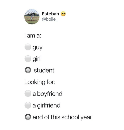 School, Girl, and Girlfriend: Esteban  @boiie_  lam a:  guy  girl  student  Looking for:  a boyfriend  a girlfriend  end of this school year