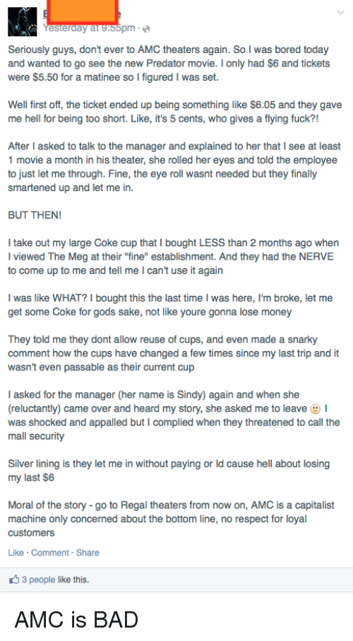 Esterday Atsoopm Seriously Guys Don't Ever to AMC Theaters Again So