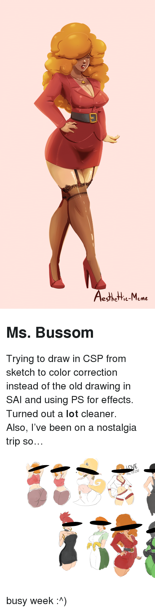 """Correction: esthetie-Meme <h2><b>Ms. Bussom</b></h2><p>Trying to draw in CSP from sketch to color correction instead of the old drawing in SAI and using PS for effects. Turned out a <b>lot</b> cleaner.</p><p>Also, I've been on a nostalgia trip so&hellip;</p><figure class=""""tmblr-full"""" data-orig-height=""""7313"""" data-orig-width=""""10073""""><img src=""""https://78.media.tumblr.com/280b587b6197f92252b7e23116986d17/tumblr_inline_p5svm2oTcJ1sdoznj_540.png"""" data-orig-height=""""7313"""" data-orig-width=""""10073""""/></figure><p>busy week :^)</p>"""