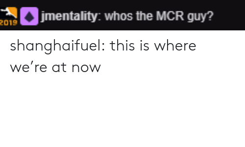 Tumblr, Blog, and Com: etality: whos the MCR guy?  2019 shanghaifuel:  this is where we're at now