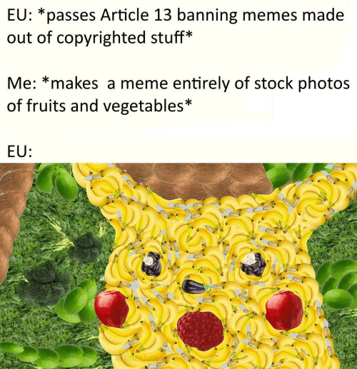 Banning: EU: *passes Article 13 banning memes made  out of copyrighted stuff*  Me: *makes a meme entirely of stock photos  of fruits and vegetables*  EU: