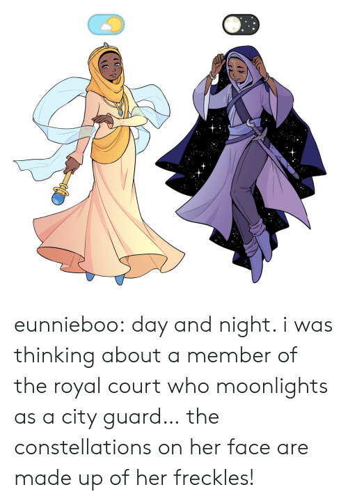 freckles: eunnieboo: day and night. i was thinking about a member of the royal court who moonlights as a city guard… the constellations on her face are made up of her freckles!