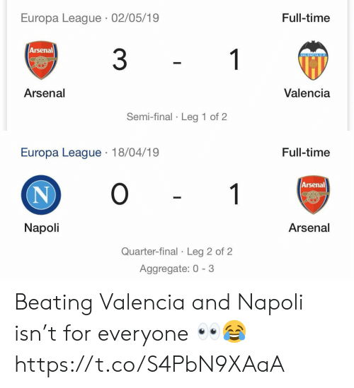 valencia: Europa League 02/05/19  Full-time  Arsenal  3  1  VALENCIA C.F  Valencia  Arsenal  Semi-final Leg 1 of 2   Europa League 18/04/19  Full-time  O  Arsenal  1  N  Napoli  Arsenal  Quarter-final Leg 2 of 2 Beating Valencia and Napoli isn't for everyone 👀😂 https://t.co/S4PbN9XAaA
