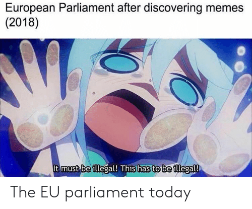 Memes 2018: European Parliament after discovering memes  (2018)  It must be illegal! This has to be illegal! The EU parliament today