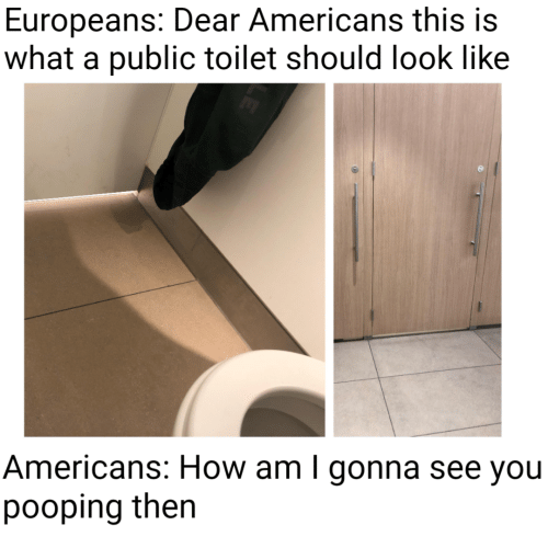 How, Public, and You: Europeans: Dear Americans this is  what a public toilet should look like  Americans: How am I gonna see you  pooping then