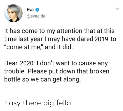 "get along: Eva  @evacide  It has come to my attention that at this  time last year I may have dared 2019 to  ""come at me,"" and it did.  Dear 2020:I don't want to cause any  trouble. Please put down that broken  bottle so we can get along. Easy there big fella"