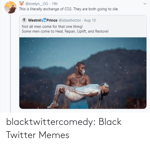 Twitter Memes: @evelyn_OG · 19h  This is literally exchange of CO2. They are both going to die.  Westnil Prince @alzaidvictor · Aug 10  Not all men come for that one thing!  Some men come to Heal, Repair, Uplift, and Restore! blacktwittercomedy:  Black Twitter Memes